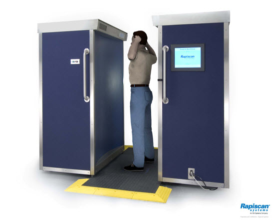 Figure 1: A modern backscatter unit showing a passenger being screened.
